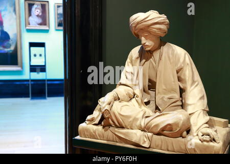 A sculpture by Richard James Lane depicting Edward William Lane at the National Portrait Gallary, London, UK - Stock Photo