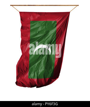 Flag of Maldives. Vertical flag.Isolated on a white background. - Stock Photo
