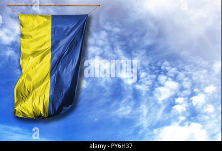 Flag of Ukraine. Vertical flag, against blue sky with place for your text - Stock Photo