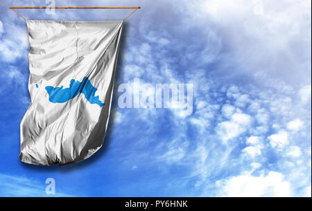 Flag of Korean Unification. Vertical flag, against blue sky with place for your text - Stock Photo