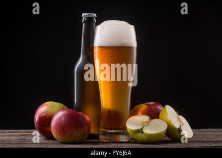 Cider in glass and bottle - Stock Photo