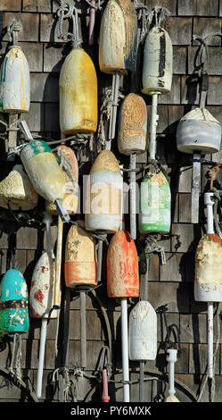 Wooden lobster buoys - Stock Photo