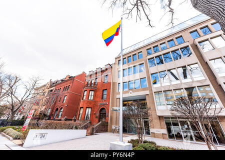Washington DC, USA - March 9, 2018: Republic of Colombia embassy, colorful flag by entrance in capital city, nobody, exterior, Congressional Black Cau - Stock Photo