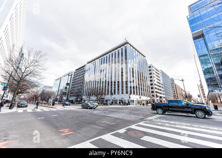 Washington DC, USA - March 9, 2018: K street road in Farragut West neighborhood of city, building exterior facade office during day, architecture, Uni - Stock Photo