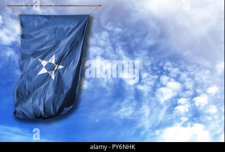 Flag of Somalia. Vertical flag, against blue sky with place for your text - Stock Photo