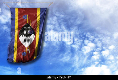 Flag of Swaziland. Vertical flag, against blue sky with place for your text - Stock Photo