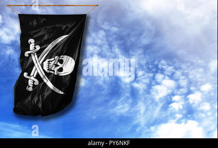 Flag of Pirates black. Vertical flag, against blue sky with place for your text - Stock Photo