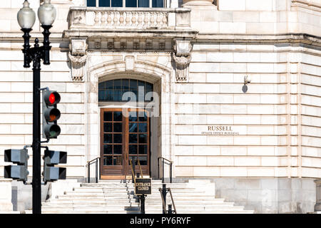 Washington DC, USA - October 12, 2018: US Congress entrance steps stairs front on Capital capitol hill, sign for Russell Senate Office building, red s - Stock Photo