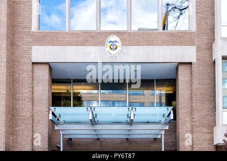 Washington DC, USA - March 9, 2018: Republic of Colombia embassy and consulate sign entrance building in capital city, nobody, exterior - Stock Photo