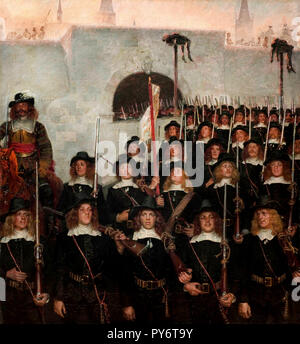 Kristian Zahrtmann, Students Leave to Defend Copenhagen in 1658, 1888 Oil on canvas, The Hirschsprung Collection. - Stock Photo