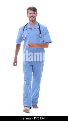in full growth.confident doctor therapist stepping forward - Stock Photo