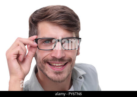 close up.successful young man with glasses - Stock Photo