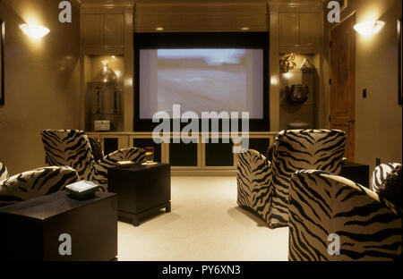 Private media center in luxury residential home, USA - Stock Photo