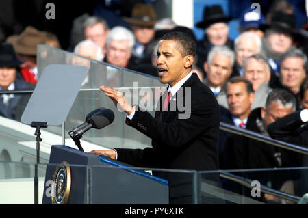 President Barack Obama delivers his inaugural address in Washington, D.C., Jan. 20, 2009. DoD photo by Master Sgt. Cecilio Ricardo, U.S. Air Force - Stock Photo