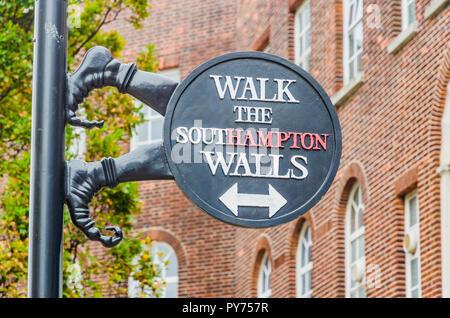 Walking Tour Signpost. Southampton, Hampshire, England, United Kingdom, UK, Europe - Stock Photo