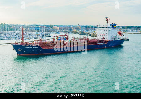 Ship CUMBRIAN FISHER, Chemical and Oil Products Tanker, Portsmouth Harbour. Portsmouth, Hampshire, England, United Kingdom, UK, Europe - Stock Photo
