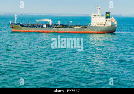 Ship FRANZ SCHULTE, Chemical and Oil Products Tanker, sailing to the Portsmouth Harbour. Portsmouth, Hampshire, England, United Kingdom, UK, Europe - Stock Photo