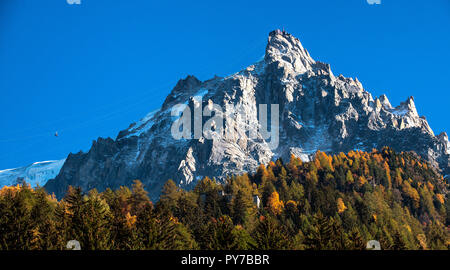 Aiguille du Midi, a mountain in the Mont Blanc massif within the French Alps. Popular tourist destination can be accessed by cable car from Chamonix. - Stock Photo