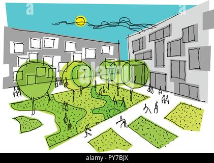hand drawn architectural sketch of a modern city with apartment buildings and lots of trees and green areas around and many people walking around - Stock Photo