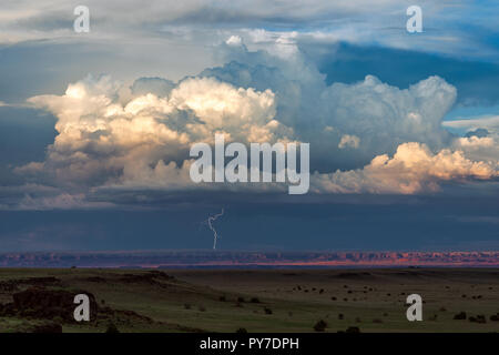 Thunderstorm cumulonimbus cloud with lightning at sunset. - Stock Photo