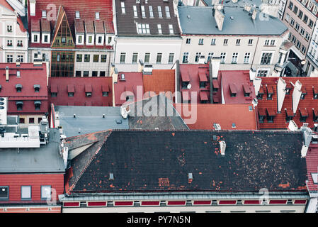 Red Roofs of houses in the old historical part of city Wroclaw, Poland - Stock Photo