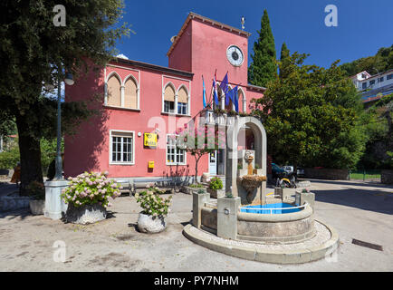 Building of post office with a fountain in front in Moscenicka Draga, Istria, Croatia - Stock Photo