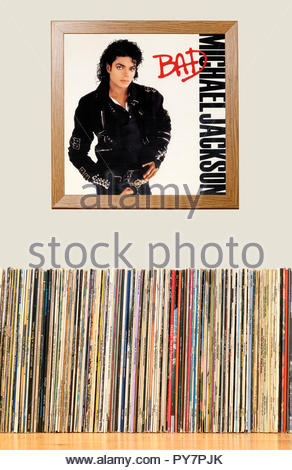 LP Collection and framed Michael Jackson 1987 Album Bad, England - Stock Photo
