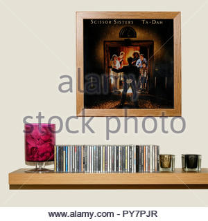 CD Collection and framed Scissor Sisters 2006 2nd album Ta-Dah, England - Stock Photo