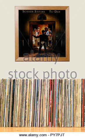 LP Collection and framed Scissor Sisters 2006 2nd album Ta-Dah, England - Stock Photo