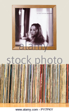LP Collection and framed Tori Amos 1999 album, To Venus and Back, England - Stock Photo