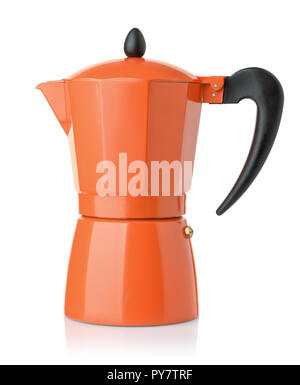 Side view of orange stovetop espresso coffee  maker isolated - Stock Photo