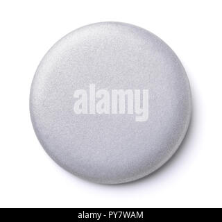 Front view of blank silver button badge isolated on white - Stock Photo