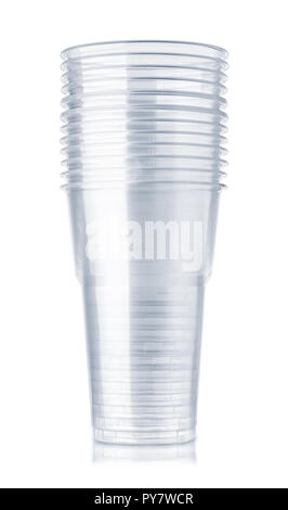 Stack of disposable plastic beer cups isolated on white - Stock Photo