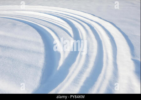 Snowmobile and tire tracks in snow - Stock Photo