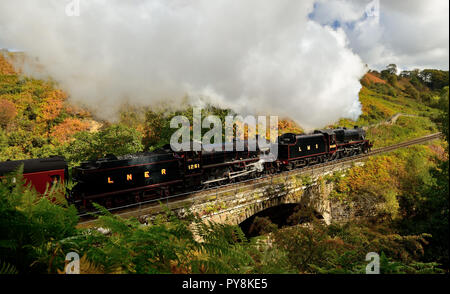 LMS class 5MT No 5428 'Eric Treacy' and LNER class B1 No 1251 'Oliver Bury' (see note) passing Water Ark with the 1124 Grosmont-Pickering service. - Stock Photo