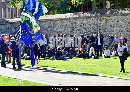 Media photographers and TV crews waiting for a press conference on College Green, Westminster, London, England, UK. SODEM anti-Brexit protesters with  - Stock Photo