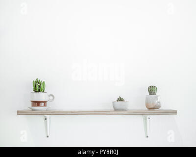 Small cactus plant in cute pots on wooden shelves on white wall with copy space. Minimalist style decoration design. - Stock Photo