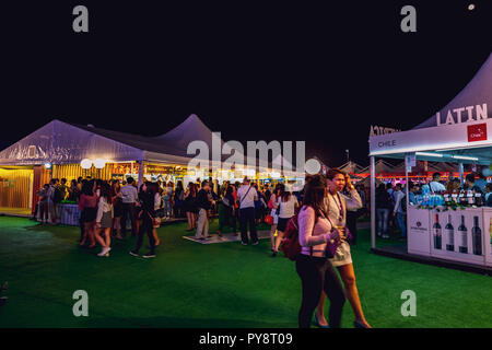 Hong Kong, China - October 25, 2018 :Business people enjoy the food and wine in Hong Kong Wine & Dine Festival 2018 after work. - Stock Photo
