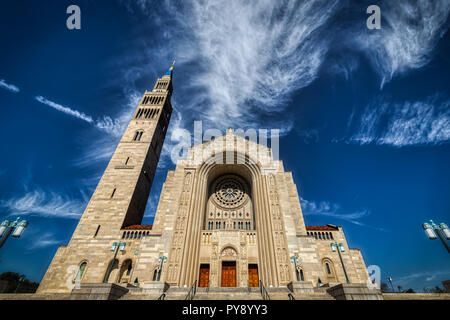 The largest Catholic church in North America, the Basilica of the National Shrine of the Immaculate Conception in Washington, DC. - Stock Photo