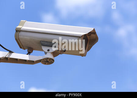White Closed-circuit television (CCTV, Security Camera) 24 hours watching for security - Stock Photo