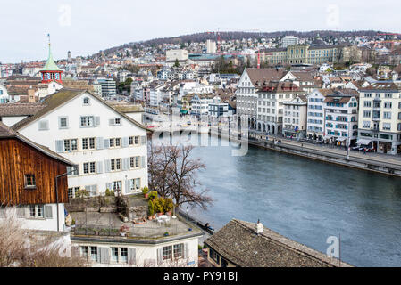 Zurich, Switzerland - March 2017: Aerial view of Zurich city center with river Limmat - Stock Photo