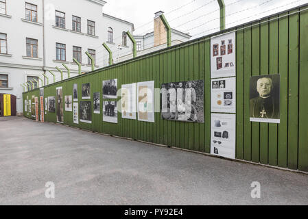 Genocide museum Vilnius,display in the former prison yard of the Museum of Genocide Victims showing Lithuanian clergy exiled to Siberia by the Soviets. - Stock Photo