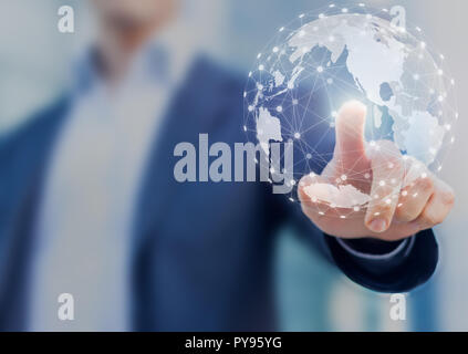 Global network communication with international connections for business around 3d world map, financial exchange, Internet of Things (IoT), blockchain - Stock Photo