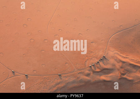 Namibia Fairy Circles seen in the Namib desert from above- cause unknown, namibia desert at Sossusvlei, Namibia Africa - Stock Photo