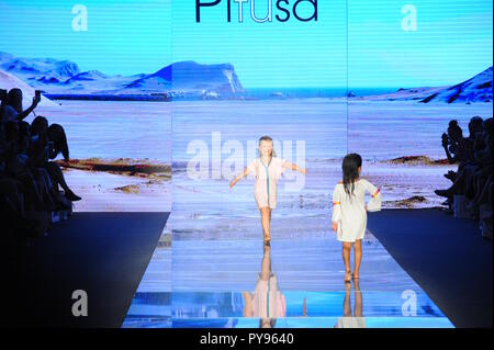 MIAMI BEACH, FL - JULY 15: A model walks the runway for Pitusa during the Paraiso Fasion Fair at The Paraiso Tent on July 15, 2018 in Miami Beach, Flo - Stock Photo