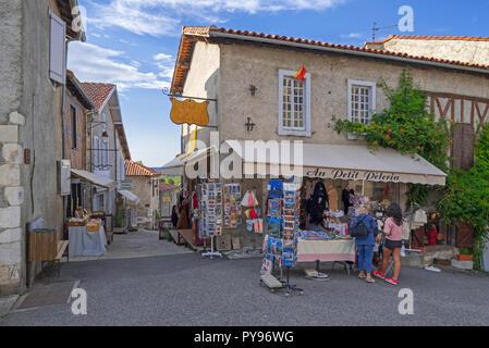 Souvenir shop in the medieval village Saint-Bertrand-de-Comminges, Haute-Garonne, Pyrenees, France - Stock Photo