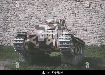 Belgrade, Serbia - March 31, 2018: German light tank Panzer I or Panzerkampfwagen Pz. Kpfw. I Ausf. F (VK18.01) from Second World War in front of Mili - Stock Photo