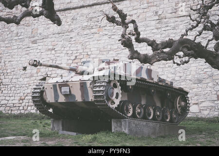 Belgrade, Serbia - March 31, 2018: German armored fighting vehicle tank destroyer StuG III F from Second World War in front of Military museum - Stock Photo