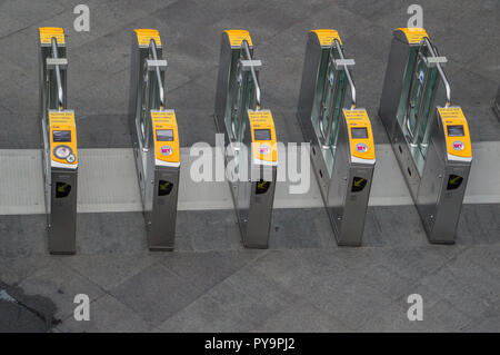 Check In Check Out Gate At Den Haag Central Station The Netherlands 2018 - Stock Photo