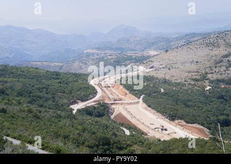 The Bar-Boljare motorway in Montenegro, build by China Road and Bridge Corporation (CRBC), represents the Montenegrin part of the Bar-Belgrade motorwa - Stock Photo
